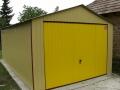 Garaj metalic colorat pentru o maşină, de 3.5m x 5m, cu acoperiş cu pantă dublă